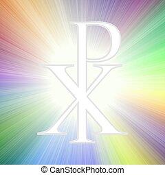 Symbol of God silhouette against sunburst. Christogram. Chi...