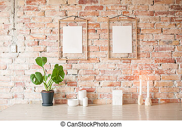 Picture frame on wall - Empty picture in wooden frame where...