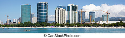 Honolulu Panorama - The panoramic view of Ala Moana beach...
