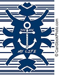 Navy blue hipster element Anchor Striped background Love...