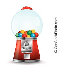 Bubble Gum Machine Illustration - A bubble gum machine on a...