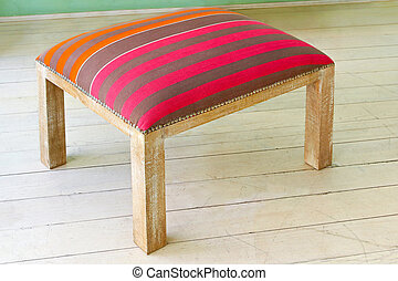 Retro stool - Vintage stool with stripes on wooden floor