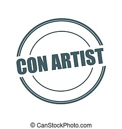 CON ARTIST Grey stamp text on circle on white background