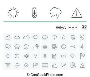 Meteo and weather vector icons - Vector thin line icons set...