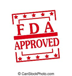FDA Approved red stamp text on squares on white background