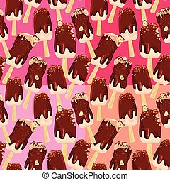 Set of seamless patterns with stick ice-cream bar with Chocolate and nuts , on different tones pink and red backgrounds.