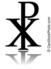 Glossy ChI RHO symbol with drop shadow. Christogram. Labarum