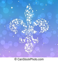 Starry fleur de lis silhouette on violet and blue background