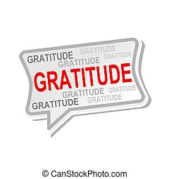 Gratitude multicolored word on gray Speech bubbles