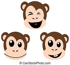 Smiling monkey faces isolated on white