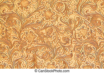 Pattern detail - Texture of wooden carved floral ornamental...