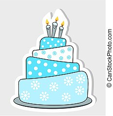birthday cake label with drop shadow - Blue birthday cake...