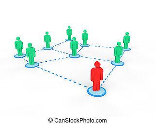 3d men connected