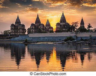 Royal cenotaphs of Orchha, Madhya Pradesh, India - View of...
