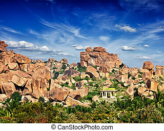 Ruins in Hampi - Indian tourist destination - ancient ruins...