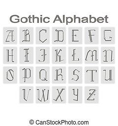 icons with gothic alphabet