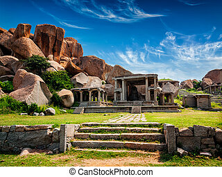 Ruins in Hampi - Tourist indian landmark Ancient ruins in...