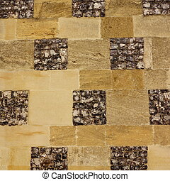 Flint and stone wall - Section of dark flint and honey...