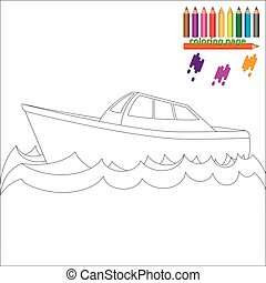 Coloring page with sea ship, boat. Painting for kids