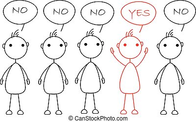"""Stick figures standing in a row saying """"No"""", one being..."""