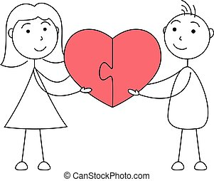 Cartoon man and woman stick figures joining puzzle of heart
