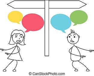 Cartoon stick figures conflict between man and woman