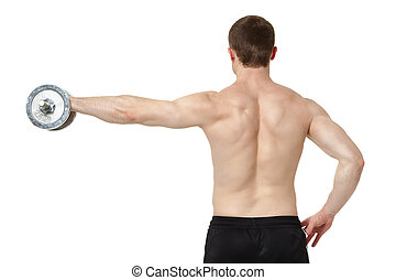 Muscular young man exercising with dumbbell.