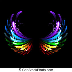 Rainbow Wings - wings, painted with colorful sparkles on a...
