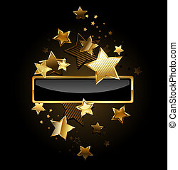 Rectangular banner with gold stars - rectangular black...