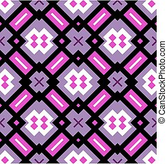 Geometrical seamless pattern in pink, violet, black and white