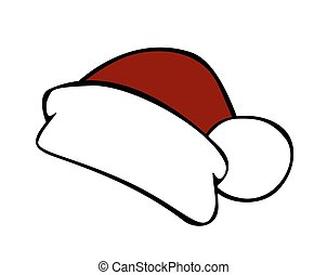 Red santa hat isolated on white