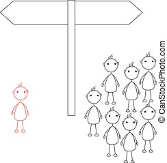 Stick figures standing in front of road sign. An individual...