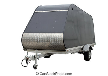 Metal car trailer. - Metal car trailer, isolated on a white...