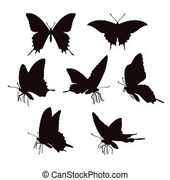 Butterfly silhouettes - Black swallowtail butterfly...
