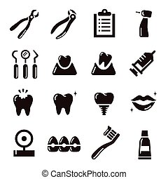 dental icon - black and white simple dental icon set