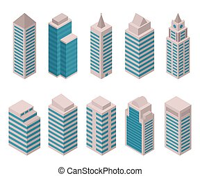 Isometric set of vector tall buildings on a white background...