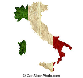 Vintage paper map of Italy