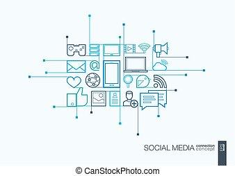 Social media integrated thin line symbols.