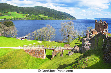 Panoramic view to Ruins of Urquhart Castle in Loch Ness in...