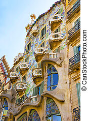 Windows of Casa Batllo building in Barcelona in Spain -...
