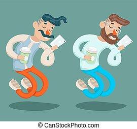 Wealthy Cartoon Hipster Geek Mobile Phone Coffie Businessman...
