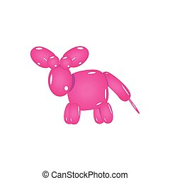 Pink Balloon Donkey Realistic Vector Illustration Isolated...