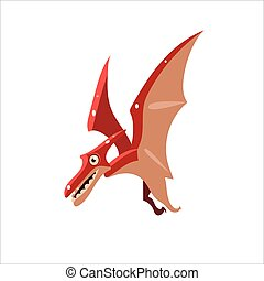 Pterodactyl Mid-air Flat Vector Illustration In Primitive...