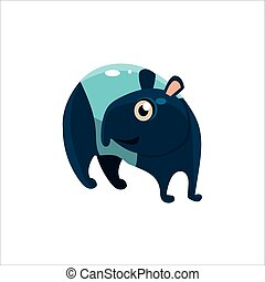 Blue Tapir Flat Vector Illustration In Primitive Cartoon...