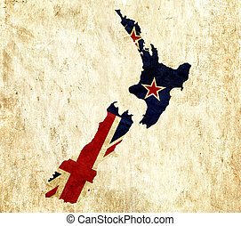 Vintage paper map of New Zealand