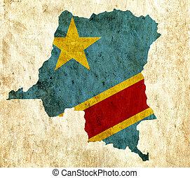 Vintage paper map of Congo Democratic Republic