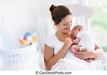 recem nascido, bebê, branca, berçário, mãe