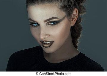 niña, con, creativo, maquillaje, para, Halloween,