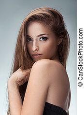 Portrait of young beautiful girl Fashion photo - Young...