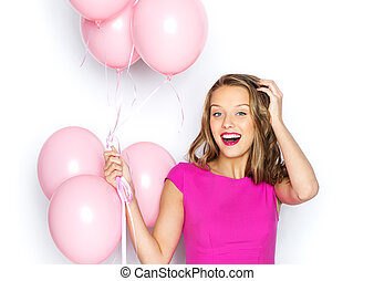 happy young woman or teen girl in pink dress - beauty,...